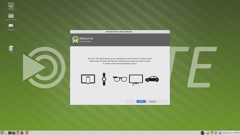 آموزش نصب اندروید استودیو در لینوکس - آموزش برنامه نویسیبعد از وارد کردن دستور بالا در صورتی که تمامی مراحل را درست رفته باشید محیط  زیر برای شما نمایش داده می شود.